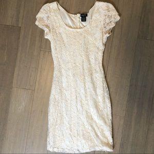 Flattering Cream Lace Dress